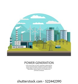 Orthogonal icon power generation conceptual composition with arched city view with hills and alternative energy sources vector illustration