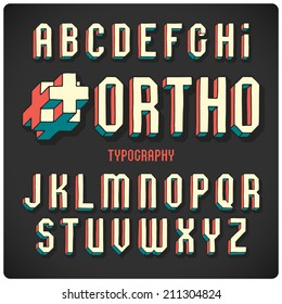 Orthogonal projection font. Color on dark background