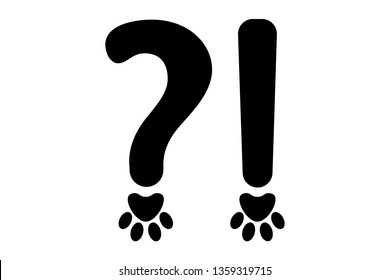 Orthography signs of black question mark and exclamation mark in animal style. Dog footmarks instead points in Typography elements. Vector typography signs ready for web and print.