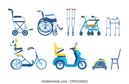 Orthopedic accessories for people with restricted abilities, handicapped, disabled people, elderly. Orthopedic equipment cane crutches walkers wheelchair scooter bicycle pedal trainer vector