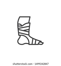 Orthopedic Ankle Bandage line icon. linear style sign for mobile concept and web design. Foot ankle brace outline vector icon. Symbol, logo illustration. Vector graphics