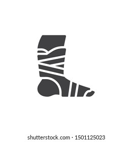 Orthopedic Ankle Bandage vector icon. filled flat sign for mobile concept and web design. Foot ankle brace glyph icon. Symbol, logo illustration. Vector graphics