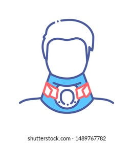 Orthopedic cervical neck collar line color icon.Traumatic head and neck injuries treatment. Sign for web page, mobile app, button, logo. Vector isolated button. Editable stroke.