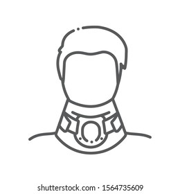 Orthopedic cervical neck collar line color icon.Traumatic head and neck injuries treatment.