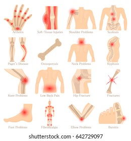 Orthopedic diseases icons set. Cartoon illustration of 16 orthopedic diseases devices vector icons for web