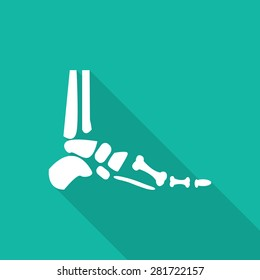 Orthopedic flat icon with long shadow on green background.