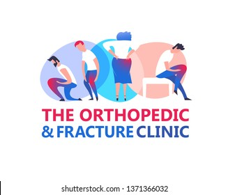 Orthopedic illustration. Modern vanguard simplistic style. Hip and knee bones injury. Rheumatology clinic. Editable vector in bright violet, blue, pink colors. Medical, healthcare, scientific concept