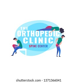 Orthopedic illustration. Modern vanguard simplistic style. Hip and knee bones injury. Rheumatology clinic. Editable vector in bright green, blue, pink colors. Medical, healthcare, scientific concept