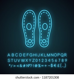 Orthopedic insoles neon light icon. Arch support. Orthotic insoles. Glowing sign with alphabet, numbers and symbols. Shoe pads. Flat foot treatment. Vector isolated illustration