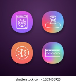 Orthopedic mattress app icons set. Machine washable, dual season, memory foam mattress, weight limit up to 140 kg. UI/UX user interface. Web or mobile applications. Vector isolated illustrations