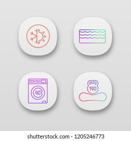 Orthopedic mattress app icons set. UI/UX user interface. Machine washable, dual season, memory foam mattress, weight limit up to 140 kg. Web or mobile applications. Vector isolated illustrations