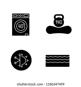 Orthopedic mattress glyph icons set. Machine washable, dual season, memory foam mattress, weight limit up to 140 kg. Silhouette symbols. Vector isolated illustration