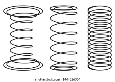 Orthopedic mattress springs, different designs. Vector illustration. Elastic element of bed, evenly transferring load between the surface of the bed and human body. Black springs isolated on white.