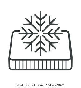 Orthopedic mattress, winter side, snowflake symbol, furniture and bedding, isolated icon vector. Correct position for sleep, body memory effect, weather adaptation. Warm material, bed covering