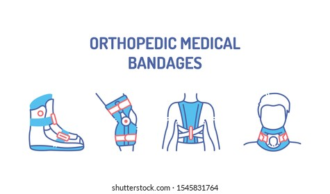 Orthopedic medical bangages color icons set. Rehabilitation and treatment after injuries, sprained. Elements: boot, posture corrector,  cervical neck collar, knee brace.