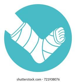 Orthopedic plaster cast icon, broken leg, bone fracture
