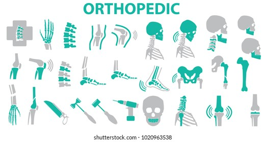 Orthopedic and spine symbol Set - vector illustration eps 10 , mono vector symbols