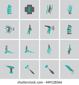 Orthopedic and spine symbol Set - vector illustration eps 10 mono symbols