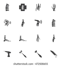 Orthopedic and spine symbol Set - vector illustration eps 10 mono symbols set 1