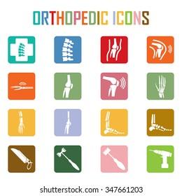 Orthopedic and spine symbol - vector illustration, Collection Human Skeleton.