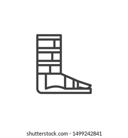 Orthopedic support for ankle line icon. linear style sign for mobile concept and web design. Foot ankle brace outline vector icon. Symbol, logo illustration. Vector graphics