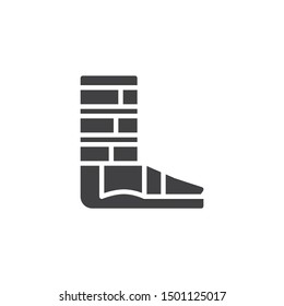 Orthopedic support for ankle vector icon. filled flat sign for mobile concept and web design. Foot ankle brace glyph icon. Symbol, logo illustration. Vector graphics
