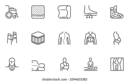Orthopedic and trauma rehabilitation Vector Line Icons Set. Orthopedics Mattress Pillow, Cervical Collar, Walkers and Other Medical Rehab Goods. . Editable Stroke. 48x48 Pixel Perfect.