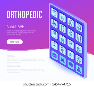Orthopedic web page template with tablet. Thin line isometric icons. Symbols of flat foot, scoliosis, compression stockings, mattress, pillow, electric wheelchair, walking stick. Vector illustration.