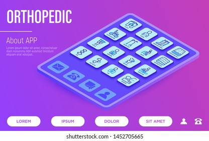 Orthopedic website template with tablet and thin line isometric icons. Flat foot, scoliosis, compression stockings, mattress, pillow, electric wheelchair, walking stick. Vector illustration.