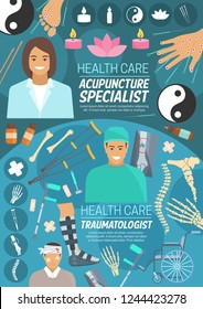 Orthopedics and acupuncture medicine, vector. Doctors, human organs, essential oil and candles, skeleton and crutches, X-ray and wheelchair, bandage and patient. Alternative medicine and medical tools