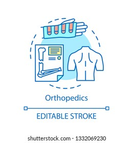 Orthopedics concept icon. Musculoskeletal system medical care idea thin line illustration. Orthopedic diagnosis, treatment vector isolated outline drawing. Injury, trauma therapy. Editable stroke