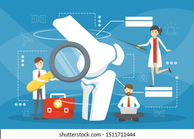 Orthopedics doctor. Idea of joint and bone treatment. Human anatomy, knee part. Vector illustration in cartoon style