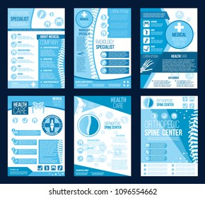 Orthopedics health center brochures for radiology orthopedic research company brochure. Vector flat design of body joints and spine bones for corrective therapy hospital or orthopedic diagnostics