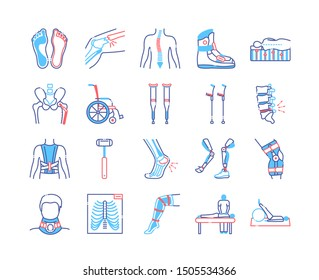 Orthopedics line color icons set. Rehabilitation after injuries. Musculoskeletal system treatment. Mobility aid concept. Sign for web page, mobile app. Vector isolated button. Editable stroke.