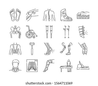 Orthopedics line color icons set. Rehabilitation after injuries. Musculoskeletal system treatment. Mobility aid concept.