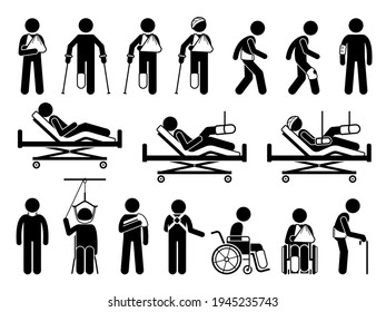 Orthopedics medical products support for pain and body injury due to accident. Icons are hospital bed, plaster cast, broken arm cast sling, backache belt, knee guard protector, wheelchair, and splint.
