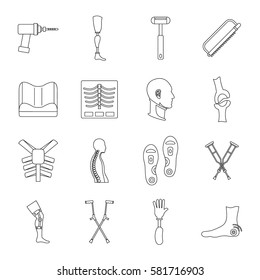 Orthopedics prosthetics icons set. Outline illustration of 16 orthopedics prosthetics vector icons for web