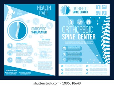 Orthopedics spine health center brochure. Vector flat design for radiology orthopedic research hospital for body joints and spine bones, orthopedic diagnostics or corrective therapy