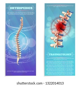 Orthopedics and Traumatology Set Flat Banner on Blue Background. Prevention Diagnosis and Treatment. Deformities and Spinal Disorders. Study Various Traumatic Effects Consequences Injuries.