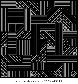 Ortogonal lines, geometric and labyrinth composition , parallel lines. Vector illustration in black background. Digital art. Abstract seamless background.