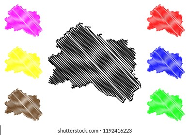 Oryol Oblast (Russia, Subjects of the Russian Federation, Oblasts of Russia) map vector illustration, scribble sketch Oryol Oblast map