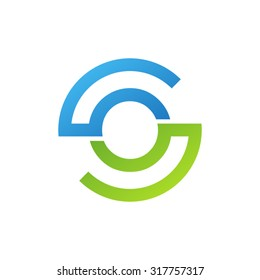 OS SO initial company circle S logo blue green