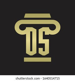 OS Logo monogram with pillar style design template with gold colors