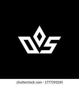 OS monogram logo with crown shape luxury style design template