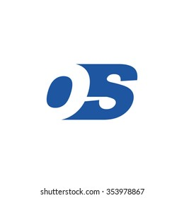 OS negative space letter logo blue