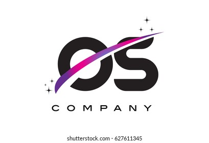 OS O S Black Letter Logo Design with Purple Magenta Swoosh and Stars.