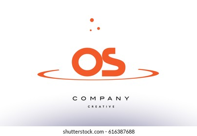 OS O S creative orange swoosh dots alphabet company letter logo design vector icon template