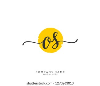 OS O S Initial handwriting logo vector