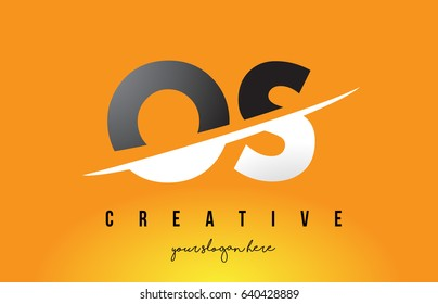 OS O S Letter Modern Logo Design with Swoosh Cutting the Middle Letters and Yellow Background.