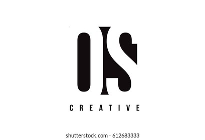 OS O S White Letter Logo Design with Black Square Vector Illustration Template.
